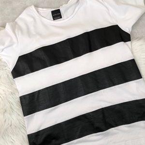 Zara Man Faux leather striped t-shirt